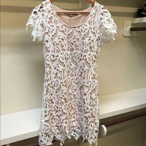 White Lace Overlay Dress